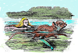 Alice is swimming with the mouse in Alice in Wonderland chapter 2 at The Story Home website